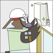 洗面所暖房機の設置